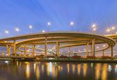 Huge elevated crossroad (Bhumibol bridge) of Bangkok, Thailand — Stock Photo