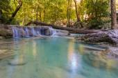 Blue stream waterfall locate in deep forest jungle — Stock Photo