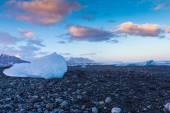 Ice on volcano sand rock — Foto Stock