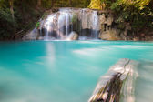 Blue stream water falls locate in deep forest jungle — Stock Photo