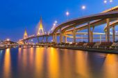 Suspension Bridge across the river at twilight The Industrail Ring Road Bangkok Thailand — Stock Photo