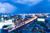 Abstract blur bokeh city road twilight background — Stock Photo