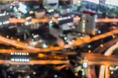 Bokeh of aerial view of complex highway interchange — Stock Photo