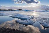 Winter ice landscape on Jokulsarlon lake — Stock Photo