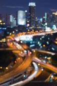 Bokeh city traffic road night view — Stock Photo