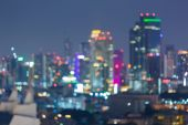 Abstract blurred bokeh city skyline lights night view — Stock Photo
