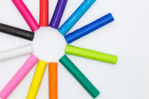 Colorful Clay sticks on white background — Stock Photo