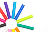 Colorful plasticine clay on white background — Stock Photo
