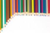 Set of rainbow colours wooden pencils on white — Stock Photo