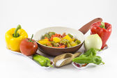 Peppers, onions, tomatoes and olives — Stock Photo