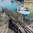 Fishing nets, creels and fishing boats — Stock Photo #55695797