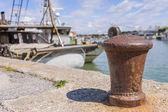 Bollard in port — Stock Photo