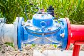 Shut-off valve for irrigation pipes — Stock Photo