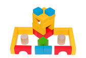 Hand-made article from multi-colored children's wooden cubes — Stock Photo