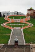 Chkalov merdiven, Valery Chkalov, anıt vapur kahraman ve kule Nijniy Novgorod Kremlin'in için pyamyatnik — Stok fotoğraf