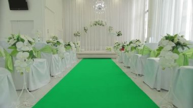 Decorated hall for wedding ceremony — Stock Video