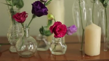 Decorated with flowers and candles — Stock Video