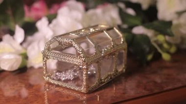 A small treasure chest box with jewelry — Stock Video