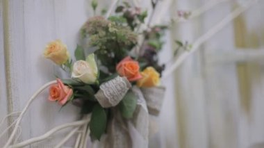 Bouquet of  flowers, flower decorations — Vídeo Stock