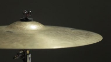 HD 1080 Static: drummer plays drums. Cymbal crash hit, closeup slow motion. Black background. — Stock Video