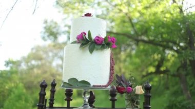 On the antique wooden stand beautiful wedding cake in the sunlight — Stock Video