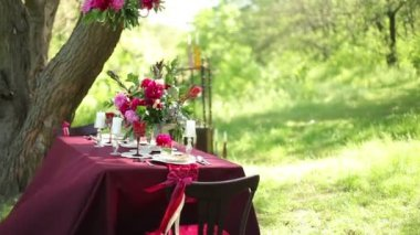 Wedding table decor at nature on a sunny day — Stock Video