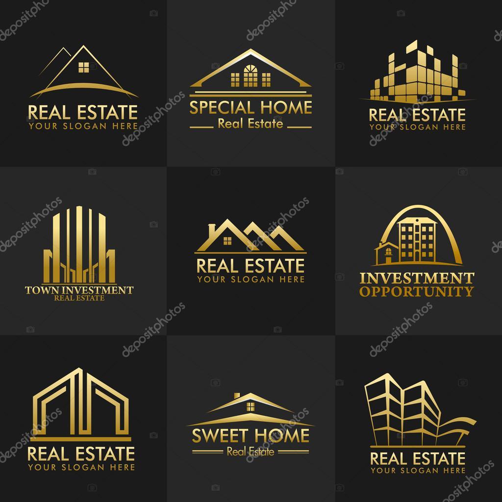 Show Home Interior Design Ideas Group Real Estate Logos Vector Design Stock Vector