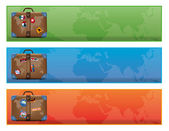 A banner or sign with world traveler suitcase — Foto de Stock