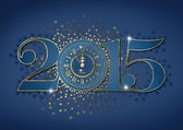 2015 Happy New Year background with golden clock — Stock Photo