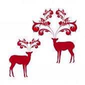 рождественская открытка с оленей — Cтоковый вектор