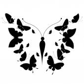 Silhouette of a butterfly on a white background — Stock Vector