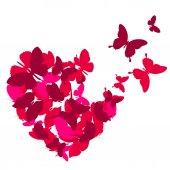 Valentine heart with butterflies — Stok Vektör