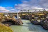 Pedestran bridge at Godafoss in Iceland — Stock Photo