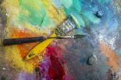 Art palette with oil paints — Stock Photo
