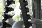 Rows of dumbbells in the gym — Stock Photo