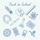 Symbols for school subjects — Stock Vector