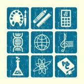 School subjects icons set — Stock Vector