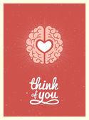 Heart and brain — Stock Vector