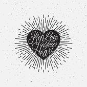 闪闪发光的心刻字 — 图库矢量图片