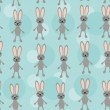 Seamless pattern with funny cute rabbit animal on  blue backgrou — Stock Vector #52605195