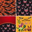 Happy Halloween set of two seamless patterns and two cards. Bats — Stock Vector #52604525