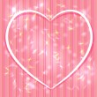 Abstract pink background with stripes, light glare. Heart. Valen — Stock Vector
