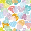 Seamless pattern with sketch hearts Pastel color on a white back — Vector de stock  #52604643
