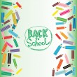 Back to School Flat colored pencils on white and green backgroun — Stock Vector #52604739