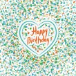 Happy birthday. Heart. Colored confetti on a white background. B — Stock Vector #52604875