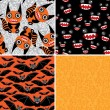 Happy Halloween set of four seamless patterns. Bats, monsters. V — Stock Vector #52605335