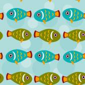 Seamless pattern with fish animal — Stock Vector