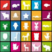 Set silhouettes of animals seamless pattern in Trendy Flat Style — Stock Vector