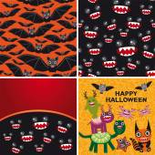 Happy Halloween set of two seamless patterns and two cards. Bats — Stock Vector