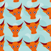 Bull Seamless pattern with funny cute animal face on a blue back — Stock Vector